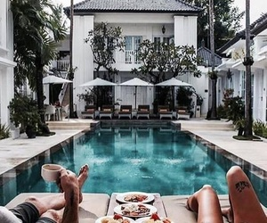 pool, couple, and home image