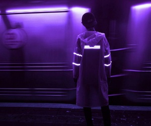 purple, neon, and dark image