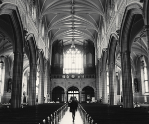 black and white, cathedral, and photography image