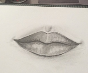 sketch, drawing, and lips image