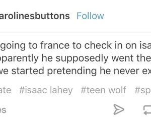text, teen wolf, and isaac lahey image