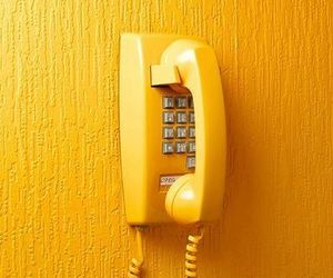 wallpaper, yellow, and telephone image