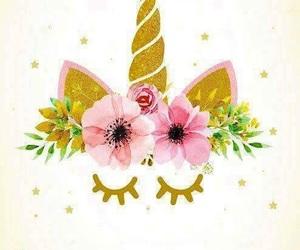 unicorn, flowers, and wallpaper image