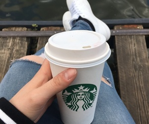 coffee, jeans, and starbucks image