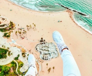beach, helicopter, and ocean image