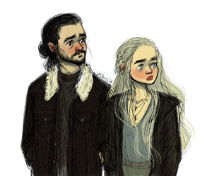game of thrones, jon snow, and deanerys targaryen image