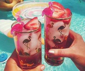 flamingo, summer, and drink image