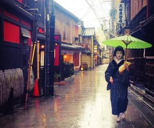 kimono, geiko, and rain image