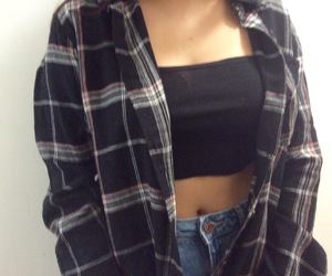 black, flannel, and grunge image