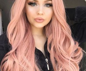 hair, makeup, and pink image