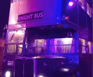 purple, theme, and bus image