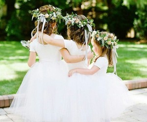 wedding, adorable, and flower girls image