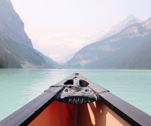 blue, canoe, and mountains image