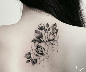 nature, roses, and tattoo image