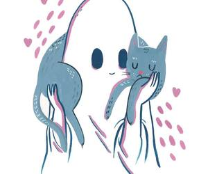 cat, ghost, and illustration image