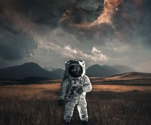 astronaut, earth, and skyline image