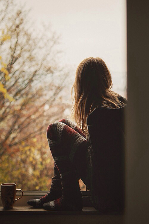 girl, autumn, and window image