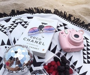 beach, camera, and food image