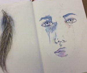 artsy, blue, and face image