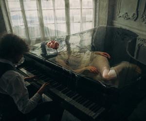 piano, art, and music image