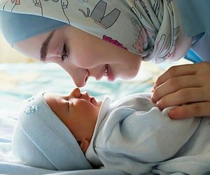 baby, hijab, and mother goals image