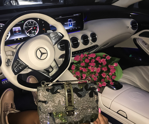 luxury, car, and flowers image