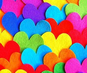 colorful, heart, and rainbow image