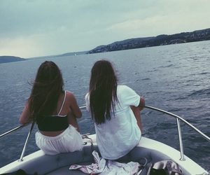 best friends, holidays, and sea image