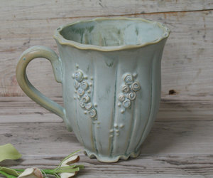 coffee cup, coffee mug, and flowers image