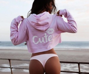 pink, beach, and girl image