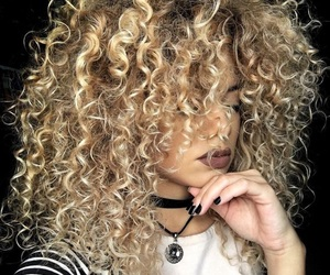 blonde, curls, and lipstick image
