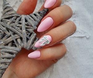 bow, nails, and pink image