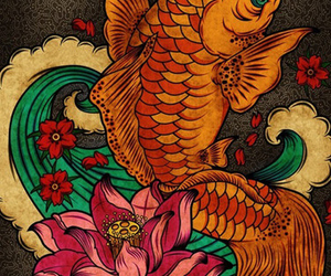 cherry blossoms, loto, and koi image