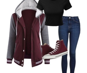 burgundy, converse, and fashion image
