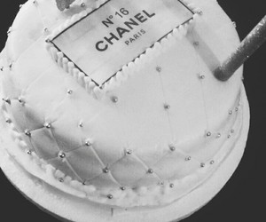 black and white, cakes, and chanel image