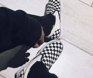 black and white, shoes, and slip on image