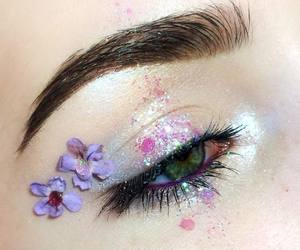 eyes, flowers, and beauty image