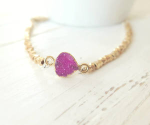 boho, druzy bracelet, and fashion image