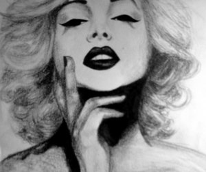 drawing, marilyn, and marilynmonroe image