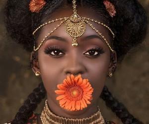 beauty, melanin, and flowers image