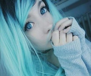 blue hair, kawaii, and pretty image