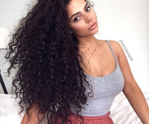 beauty, woman, and curly hair image