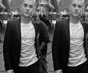 black and white, JB, and outfit image