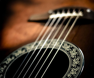 guitar, music, and brown image