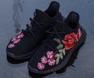 black, flower, and sneakers image