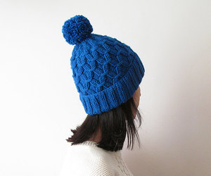 christmas, cobalt blue, and pom pom hat image