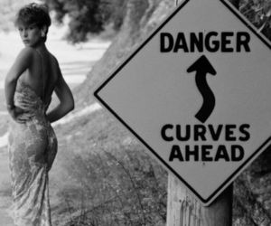 curves, woman, and black and white image