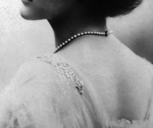 vintage, black and white, and pearls image