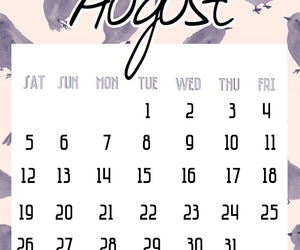 August, birds, and calendar image