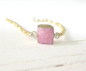 boho, druzy bracelet, and jewelry image